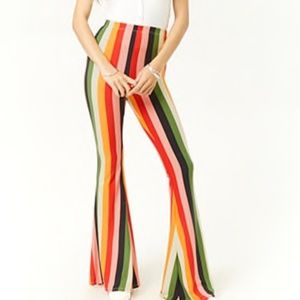Forever 21 striped Rainbow Flare Pants NEW!